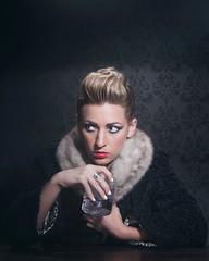 Molly Drinking Vodka (cory660) Tags: portrait woman girl fur model drink liquor blond blonde vodka lipstick period