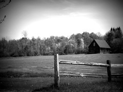 5.15.13: Cabin in the Woods (Ruff Edge Design) Tags: houses blackandwhite maine fences lomoish lightingadjusted