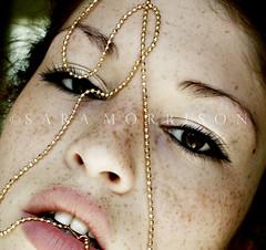 Prayer at the sea (Sara_Morrison) Tags: red portrait girl face necklace lips redhead freckles redhair ritratto bocca faccia lentiggini saramorrison