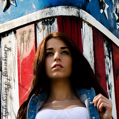 Jessie (Bangarang! Photography) Tags: oregon portland model memorial americanflag pdx brunette jeanjacket ussoregon