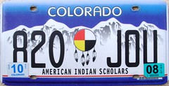 American Indian Scholars Colorado License Plate (Suko's License Plates) Tags: plaque native indian nation band plate tribal licenseplate license tribe placa patente targa matricula kennzeichen targhe numbertag nummerschild nativeamericanindians plaqueimmatriculation triballicenseplates indiantribeslicenseplates americanindianscholars