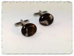 Smear cufflinks in Black/Brown/Cream
