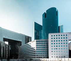 La Defense 2 (Philipp Gtze) Tags: sun paris glass architecture modern buildings office district ladefense