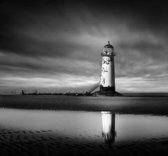 LOST SOULS OF TALACRE .(Explore) (Neil Hulme.) Tags: longexposure sea blackandwhite lighthouse white motion black water monochrome square lumix mono fineart fine blackpool minimalist ndfilter daytimelongexposure seaandshore nd110filter blackandwhitelongexposure seaandseashore