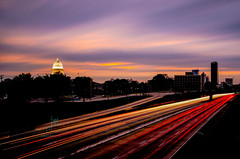 Battery Street Sunrise (Dr_Fu_Manchu) Tags: longexposure light car st rock nikon downtown little littlerock capital battery trails arkansas statecapital i630 d7000 thechallengefactory fotocompetition fotocompetitionbronze