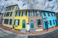 Annapolis rowhouses - HDR (m01229) Tags: blue houses yellow teal maryland fisheye annapolis hdr d7000