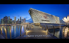 Walk of Luxe (draken413o) Tags: blue panorama architecture night digital marina bay louis singapore awesome cityscapes hour brand luxury vuitton blending
