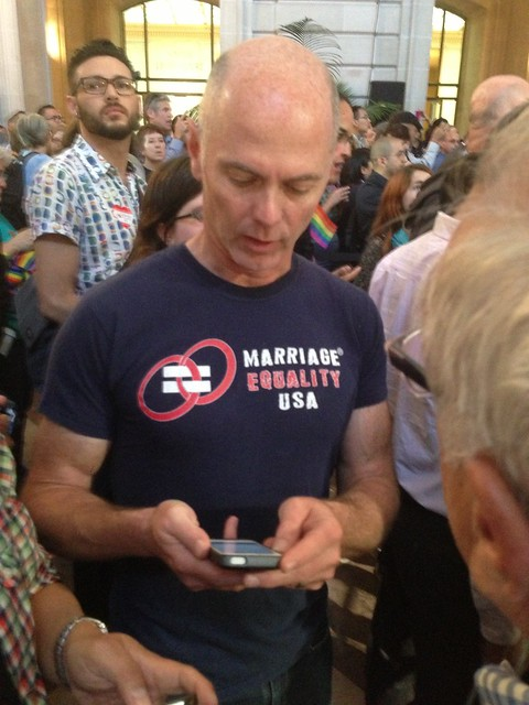 Looking at #Prop8 no standing decision on phone at City Hall #scotus #doma #lgbt
