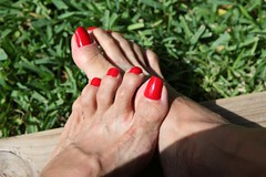 Sooki (IPMT) Tags: red hot sexy feet fetish foot blood zoya perfect toes bright painted polish thong barefoot stunning pedicure sooki toenails toenail pedi