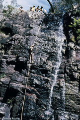 Wallarra Falls abseil, 1980 (NettyA) Tags: park film creek 35mm australia national bushwalking nsw newsouthwales kodachrome ck 1980 abseiling scannedslide christies kanangraboyd wallarrafalls uppermiddlechristies