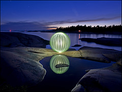 Solomons Reflection (Rodrick Dale) Tags: ontario canada lightpainting green water rock reflections island bay orb killarney georgian solomons
