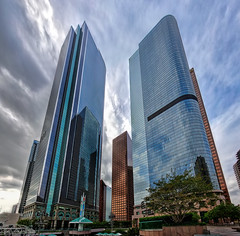California Plaza in Downtown Los Angeles (Dave Toussaint (www.photographersnature.com)) Tags: california travel vacation portrait panorama usa building nature vertical architecture skyscraper photoshop canon landscape photo losangeles interesting downtown day cloudy pictu