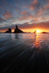 Bandon beach, Oregon (Beboy_photographies) Tags: ocean sunset sea sun color beach water clouds oregon star colorful wave flare manual bandon burst dri blending beboy bandonbeach manualblending