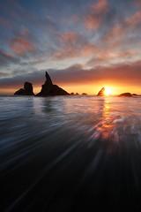 Bandon beach, Oregon (Beboy_photographies) Tags: ocean sunset sea sun color beach water clouds oregon star colorful wave flare manual bandon burst dri blending beboy bandonbeach manualblending