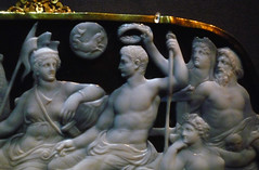 Dioskourides, Gemma Augustea, detail of upper register with (left to right) Roma, Augustus, Oikoumene, and Oceanus