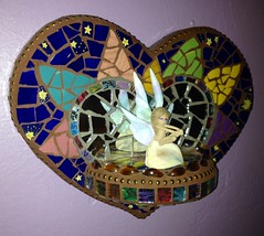 Mosaic Heart Shelf (dumblady mosaics) Tags: china art broken lady plaque mirror mixed media colorful heart handmade mosaic glassgems mosaics style wallart mexican hippie plates dishes dinnerware piqueassiette picassiette christinemorris dumblady dumbladymosaics