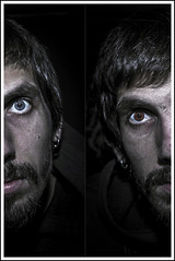 P e r s o n a l i t y C r i s i s (Chris Robinson Photography) Tags: fall face dark hair beard nose eyes tripod creepy flashphotography human ugly depth selfshot uglymug uglyface splitpersonality weatherd 2013 canonef24105mmf4lisusm selfshotphotography