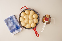 Raw brioche in a pan (365mm.cat) Tags: home cooking kitchen painting baking raw baker shot oven egg balls homemade pan making overhead brioche preparing yolk overview uncooked ovelook