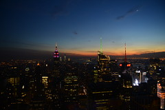 sunset down, new moon up ([Yifu]ography) Tags: nyc sunset newyork skyline night nikon empirestatebuilding empirestate newmoon topoftherock d800
