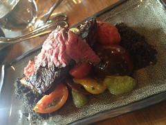 "Wagyu skirt, heirloom tomoatoes, olive gremolata <a style=""margin-left:10px; font-size:0.8em;"" href=""http://www.flickr.com/photos/30579997@N08/12555408974/"" target=""_blank"">@flickr</a>"