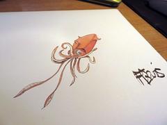 Squid (François Berthet) Tags: illustration drawing squid letraset calmar promarker