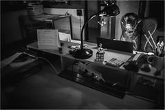 Overtime (Tomas.Kral) Tags: blackandwhite bw dog monochrome canon table blackwhite labrador czech prague desk working moment strobe overtime onelight rur speedlite 2870mm doglife strobist 5dmarkii yn560ii