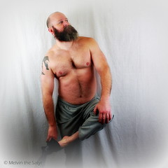 here i am taking off a sock (=Melvin the Satyr=) Tags: shirtless man beard barechest undressing halfnaked hairychest portraitofaman removingasock