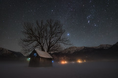 Reaching for the Sky (@hipydeus) Tags: nightsky orion milkyway stars sternenhimmel barn hütte alps mountains bavaria bayern fog sterne nacht landscape sky nature