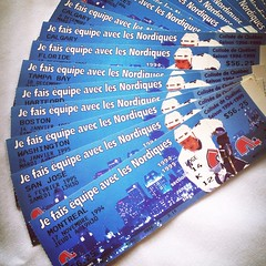 Tickets of Nordiques of Quebec season 94-95 (JulieAube) Tags: city blue hockey boston tampa tickets nhl team san colorado jose ticket bleu qubec 1995 players 1994 canadiens nordiques lnh washinghton jouers
