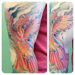 Phoenix tattoo by Wes Fortier - Burning Hearts Tattoo Co. 1430 Meriden Rd.  Waterbury, CT