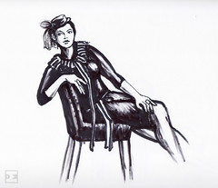 SarahChristine1-4-25-16-100 (artistbyday) Tags: blackandwhite girl contrast ink pose model chair shadows legs drawing curvy retro linedrawing lifedrawing blackdress fashionillustration artmarkers