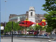 West Midlands Air Ambulance (metrogogo) Tags: red bus flying chopper birmingham aircraft flight may clocktower landing helicopter firestation emergency clocks airborn birminghamuk astonuniversity airambulance gomaa westmidlandsairambulance