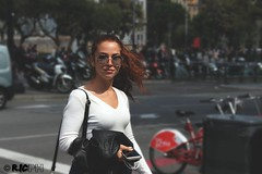 Spanish atmosphere (riccardonicolosi47) Tags: barcelona trip red portrait italy girl beautiful sunglasses photoshop canon lights cool nice spain flickr hd freckles redhair effect italiangirl tumblr canon700d