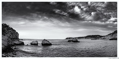 Ibiza - Cala Xarraca Panorama (Amar Sood) Tags: blackandwhite panorama seascape art monochrome landscape mono nikon sigma panoramic ibiza 3514 whiteandblack d610
