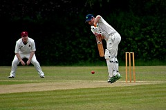 Up on his toes (Explored) (Steve.T.) Tags: playing game sport nikon action player cricket explore batting sportsaction stumps sportsman rayne cricketball wicket sportsphotography batsman sigma70300 explored sportphotography higheastercricketclub raynecricketclub