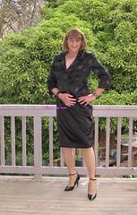 Suit 53f (Melissa451) Tags: highheels skirtsuit satinsuit
