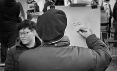 Painting (MassiVerdu) Tags: street old city travel portrait people urban blackandwhite bw streetart man paris france men art painting person monocromo blackwhite paint artist arte drawing painted explorer streetphotography oldman montmartre bn urbanexploration portraiture streetartist painter streetphoto draw exploration francia ritratto biancoenero artista citt parigi blackandwhitephotography urbanphotography urbex monocrome urbanphoto blackandwhitephoto travelphotography pittore porfolio travelphoto streetpicture travelpicture explored fotografiainbiancoenero piazzadegliartisti cityexploration fotografiadistrada fotografiadiviaggio fotografiadicitt placesdesartistes