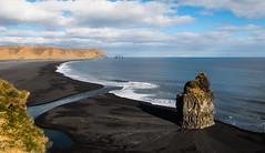 black sand beach (corsicagwen) Tags: sea black beach iceland sand noir sable plage rocher islande ocan dyrholaey