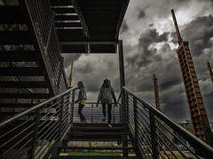 Xplore (Lumase) Tags: sisters sara industrial dramatic daughters overcast stormy stairway irene