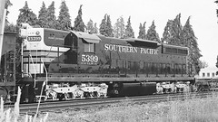 Southern Pacific 5399 Black and White (844steamtrain) Tags: camera old railroad travel white black history film tourism america train portland photography paint flickr technology pacific northwest diesel outdoor events engine railway science cadillac adventure southern transportation western vehicle locomotive widow emd sd9 llw 5399 844steamtrain
