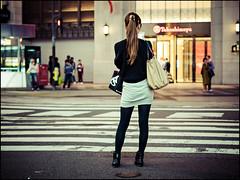 Black & White (David Panevin) Tags: street people japan night lights evening bokeh path stripes olympus  osaka namba kansai omd em1  urbanfragments bokehlicious davidpanevin mzuikodigitaled45mmf18