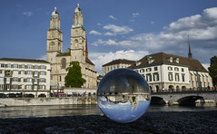 Zurich in a Crystal Ball (swissukue) Tags: city church architecture switzerland sony zurich zrich a7 crystalball grossmnster lookingglas ilce7