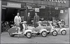 Broadmeadow line up (geoff7918) Tags: birmingham vespa lambretta staff 1959 a10 bsa d7 broadmeadow watfordroad cafracer rcswift b34clubman gilerasport