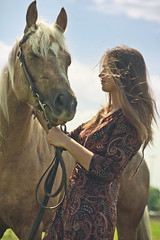 Sylwia (lucrecia lee) Tags: summer portrait sky horse woman cloud colour girl beautiful beauty pretty wind longhair colourful youngwoman