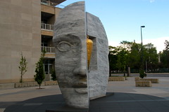 Half Face Sculpture (quiggyt4) Tags: bear street sculpture horse mountains west art architecture rockies greek cow opera colorado theater streetlamp cityhall library capital arts lion cell rocky denver moo historic clocktower greece capitol conventioncenter publicart 16thstreet amphitheater donaldtrump lightrail libeskind trump broncos bovine streetscape civiccenter denverco coorsfield denvernuggets avalanche denverpubliclibrary coloradorockies denverbroncos citybeautiful counterterrorism coloradoavalanche ows larimersquare occupy occupywallstreet