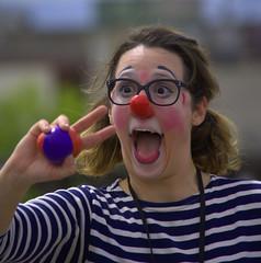 The Clown Face (swong95765) Tags: face female nose bokeh expression clown parade laugh