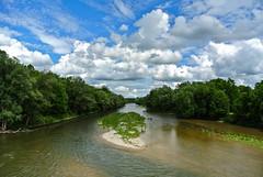 River Isar and Bavarian sky (Kat-i) Tags: trees sky nature water clouds river outside bayern deutschland bavaria wasser natur himmel wolken wang kati fluss isar bume sandbank katharina 2016 nikon1v1