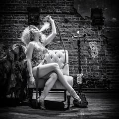 The Moonlight Dolls:  Eat Me Brunch @ Prohibition Supper Club (Oliver Leveritt) Tags: nikond610 afsnikkor2470mmf28ged oliverleverittphotography prohibitionsupperclub moonlightdolls burlesque blackandwhite monochrome woman performer entertainer abbycadabra eatmebrunch legs hookah smoke redqueen evilqueen wonderland queenofhearts
