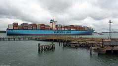 Emma Maersk (peterphotographic) Tags: p6140560edwm olympus em5mk2 microfourthirds peterhall southampton southamptondocks southamptonwater hampshire england uk britain emmamaersk maersk ship boat vessel containership containre blue grey