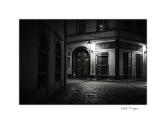 Caffe Prague (www.charlottegilliatt.com) Tags: night dark prague praha atmospheric gaslight cobbledstreet